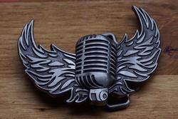"""Muziek gesp  """" Microfoon met vleugels """""""