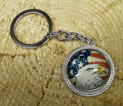 "Sleutelhanger  ""  Americaanse vlag +  Adelaar """