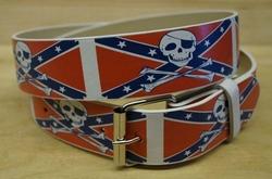 """Buckle riem """" Doodskoppen met rebel vlag """"  Rood, wit, blauw"""