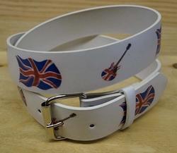 """Buckle riem """" Engelse vlag met gitaren """" Wit / rood / blauw"""