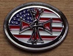 """Buckle / gesp  """" Amerikaanse vlag met kruis """""""