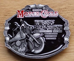 "Motor cylce buckle  "" 100 years of Harley Davidson """