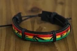 "Leren armband  ""  Rasta ""   Zwart"