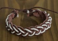 "Leren armband  ""  Bruin / wit """