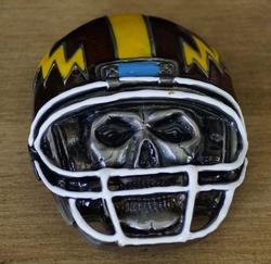 "Belt buckle  "" Doodskop met rugby helm """