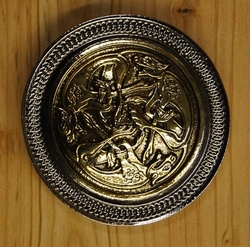"Celtic Belt Buckle  "" Three Celtic Dogs """