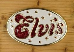 """Elvis buckle  """" Elvis """"  Wit / rood glitter"""