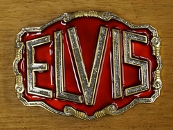 """Elvis buckle  """" Elvis """" Rood / zilver glitter / UITVERKOCHT"""