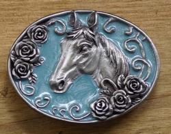 """Western gesp """" Paard """"  Licht blauw"""