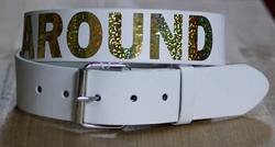 "Buckle riem "" Rock around the clock  ""   Wit"