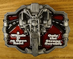 "Buckle / gesp  ""3 Wheels an open road, only the strong ... """