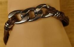 """Leren armband met metalen sier decoratie  """" Bruin"""