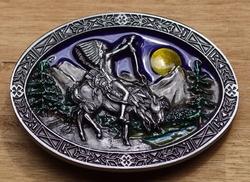 """Buckle / gesp  """" Sjamaan te paard in de bergen """""""