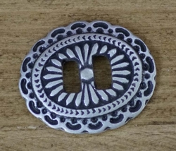 """Slotted concho  """" Ovaal ( 6 ) """"   Zilver kleurig"""