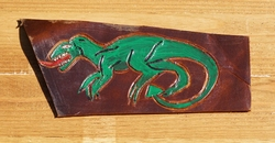 "Lederen applicatie  "" Dinosaurs ""  Bruin / gekleurd"