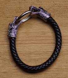 """Klemarmband  """" Draak  """"  Zwart / zilverkleurig"""