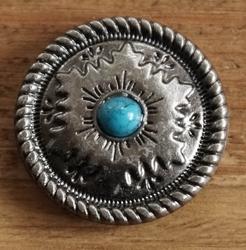 """Concho  """" Blad motief met blauwe steen """""""