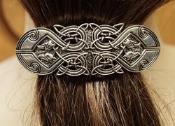 """Haarclip  """" 4 Keltische vogels """"   Zilverkleurig"""
