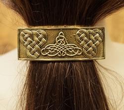 """Haarclip  """" 3 Keltische knoop """"   Koperkleurig"""