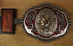 """Wrangler buckle  """" Rodeo rider """"   Rood /   UITVERKOCHT"""