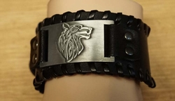 "Zwarte leren armband  "" Keltisch wolf """