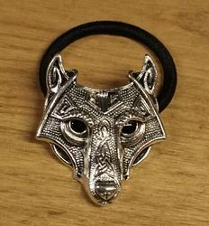 """Haarelastiek  """" Keltische wolf """"  nikkel kleurig"""