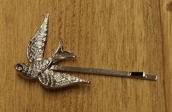 """Haarschuifjes  """" Vogel """"  zilverkleurig    per stuk"""