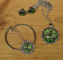 "Sieraden set  "" 3 Celtic dogs  ""  groen"