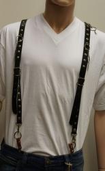 """Leren bretels  """" Koperen studs met ringen """"  Zwart"""