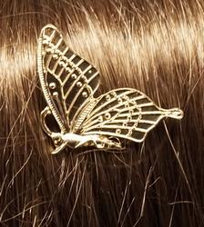 """Haarkam  """" Vlinder """"   goudkleurig"""