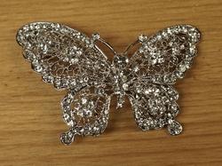 """Haarpeld  """" Vlinder """"   glitter zilver stenen"""