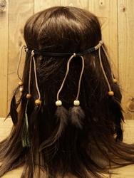 """Haarband met veren  """" beige  """""""
