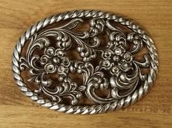 """Sterling zilveren buckle  """" Decoratie bloemen met strass """""""