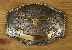 """Sterling zilveren buckle  """" Longhorn """" zilver/goud"""