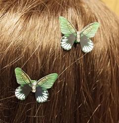 """Haarklem  """" Vlinders """"   groen   4 stuks"""