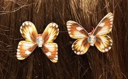 """Haarklem  """" Vlinders """"   rood / geel   4 stuks"""