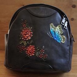 Leren dames rugzakje met rozen en vlinder
