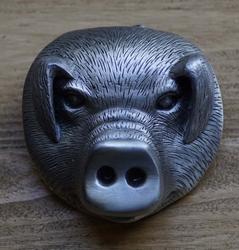 """Riem buckle  """" Zilverkleurige varkenskop """"  UITVERKOCHT"""