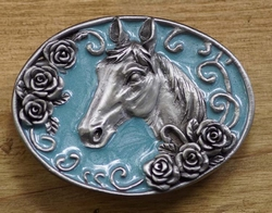"""Riem buckle """" Paard """"  Licht blauw"""