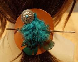 Leren haarspelden veren